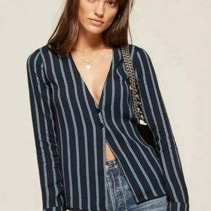 Reformation Navy Blue Striped Blouse Button Top XS